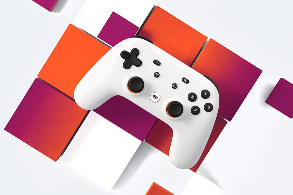 google stadia controller on colorful background