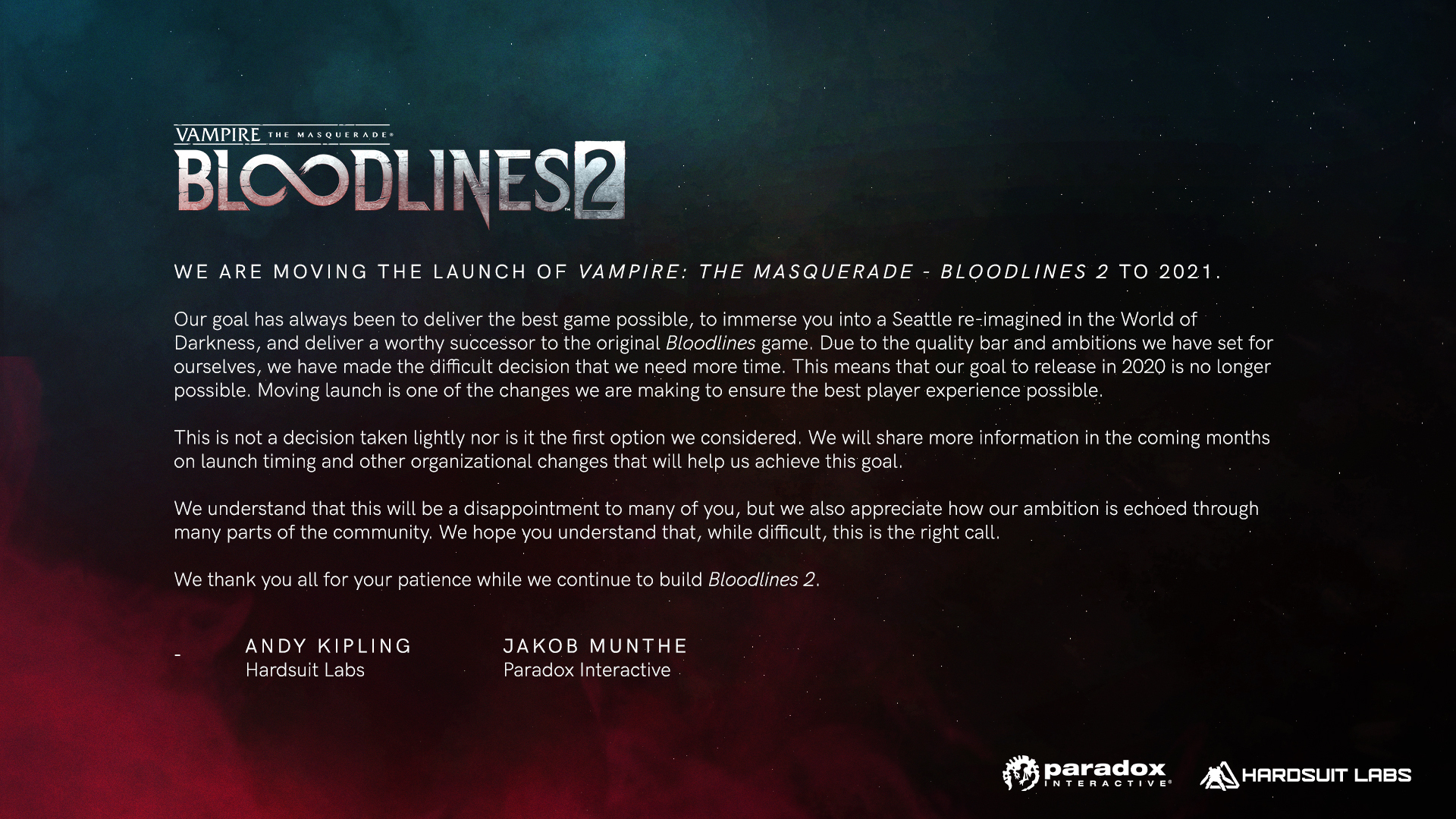 Hardsuit Labs and Paradox's statement on Bloodlines 2's delay.